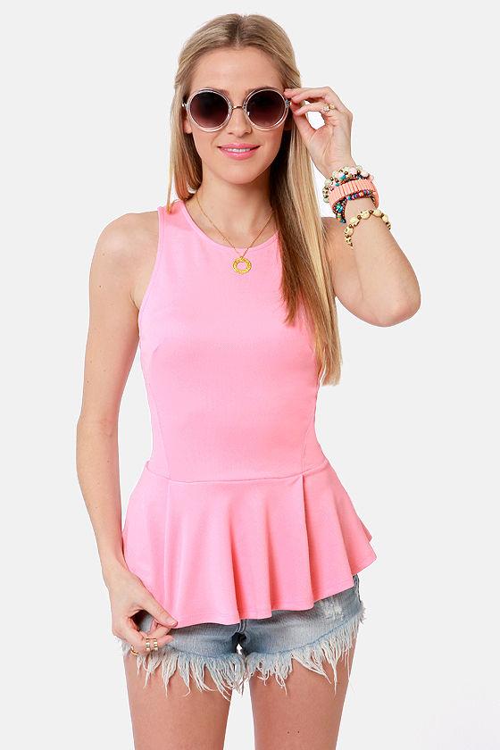Cute Pink Top Peplum Top Sleeveless Top 30 00
