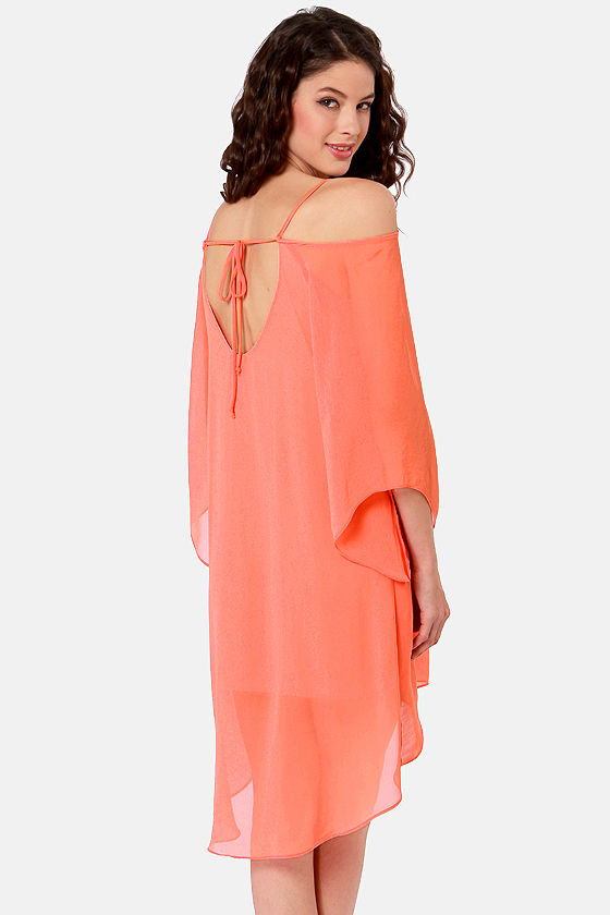 Goddess Next Door Off-the-Shoulder Coral Dress at Lulus.com!