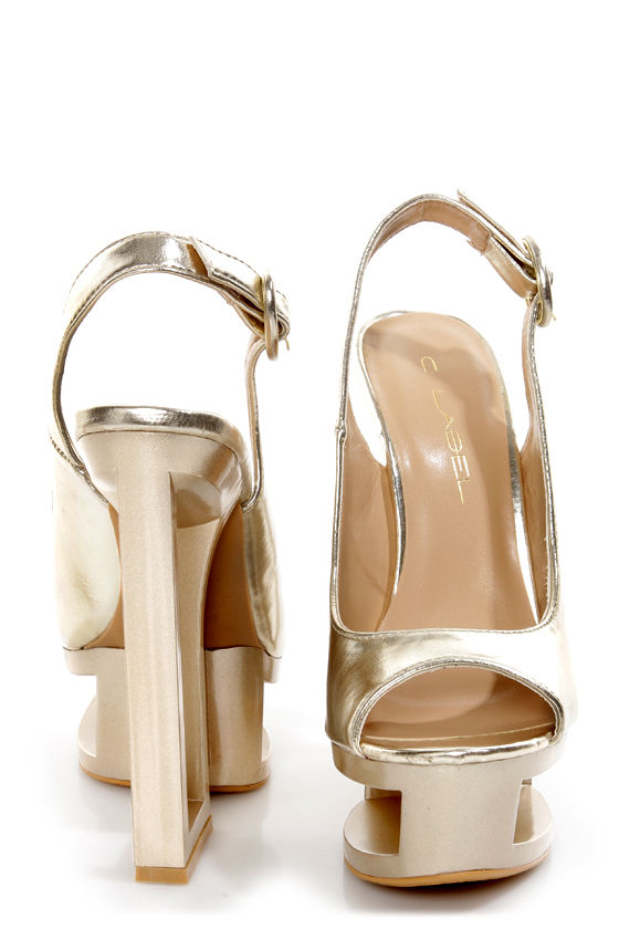 C Label Dolce 2B Gold Architectural Cutout Platform Wedges at Lulus.com!