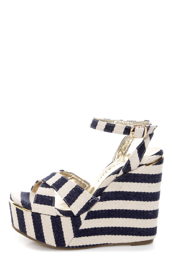 Very Volatile Nauttie Navy Blue Striped Platform Wedge Sandals at Lulus.com!