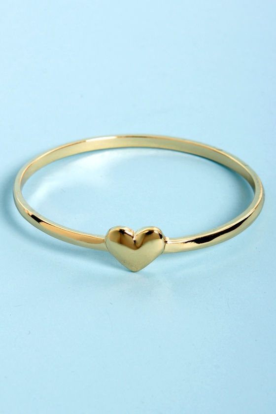 Feel the Love Gold Heart Bangle at Lulus.com!
