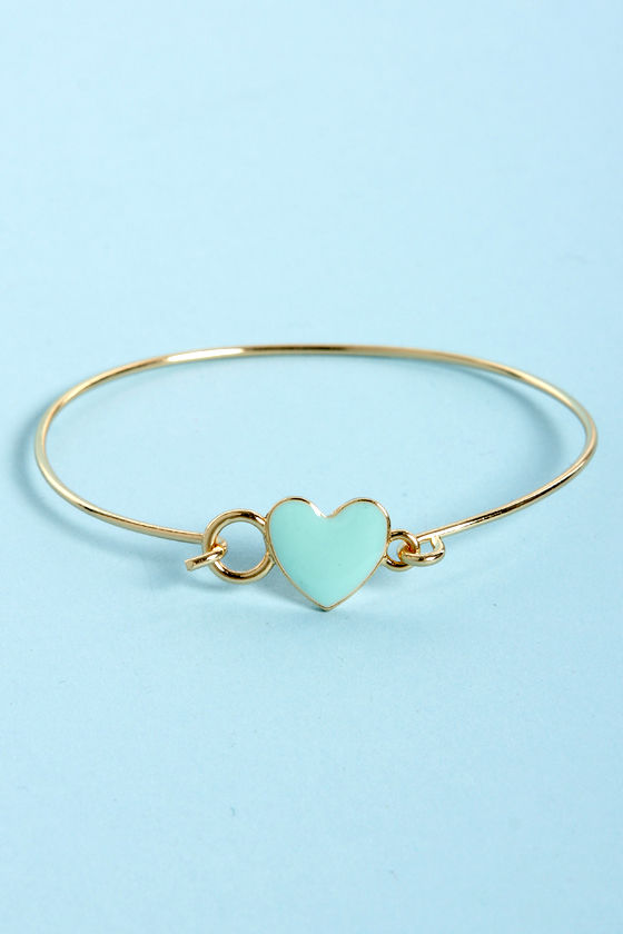 Too Heart to Handle Mint and Gold Heart Bracelet at Lulus.com!