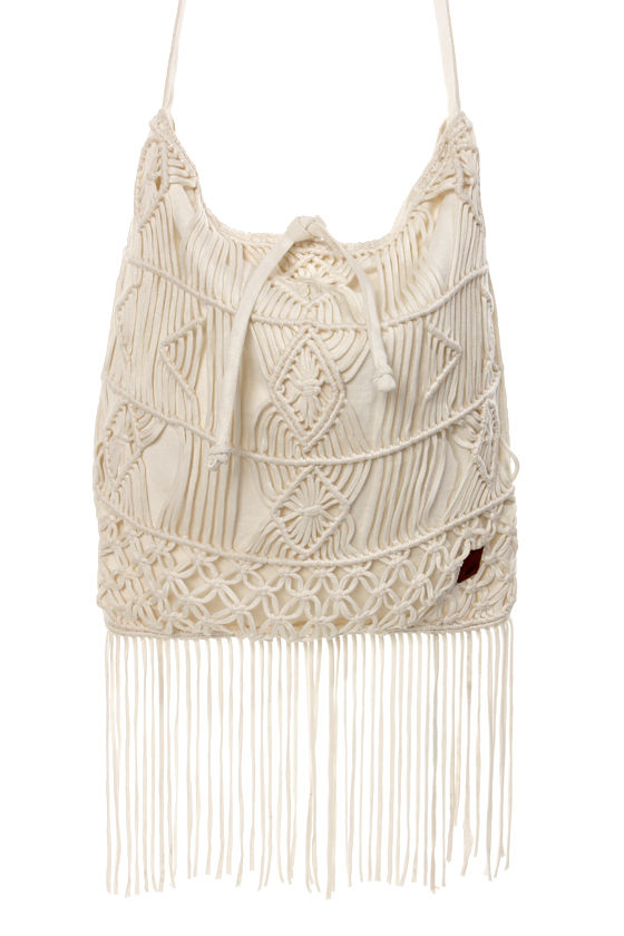 Roxy Aquarius Cream Macrame Fringe Tote at Lulus.com!