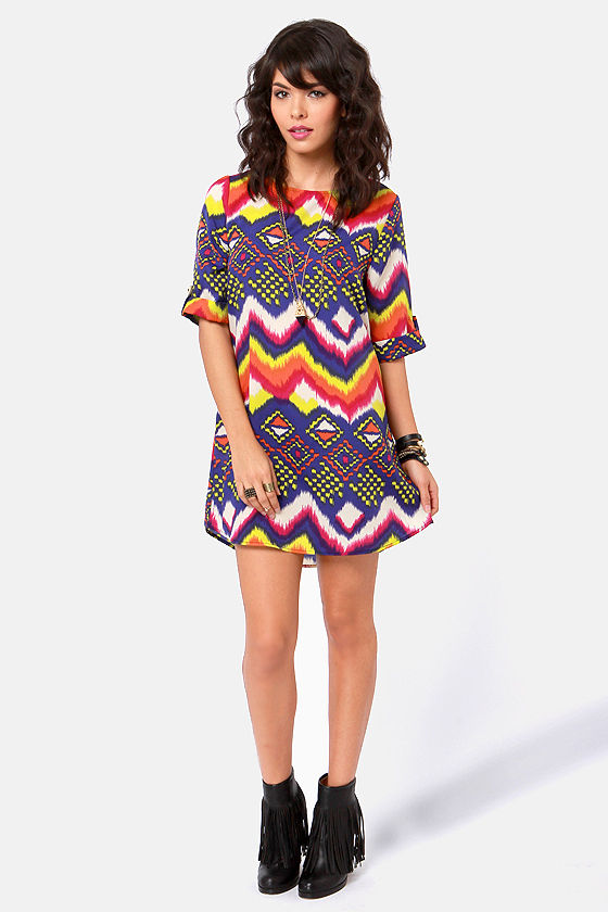Hip Hype Hooray! Multi Print Dress at Lulus.com!