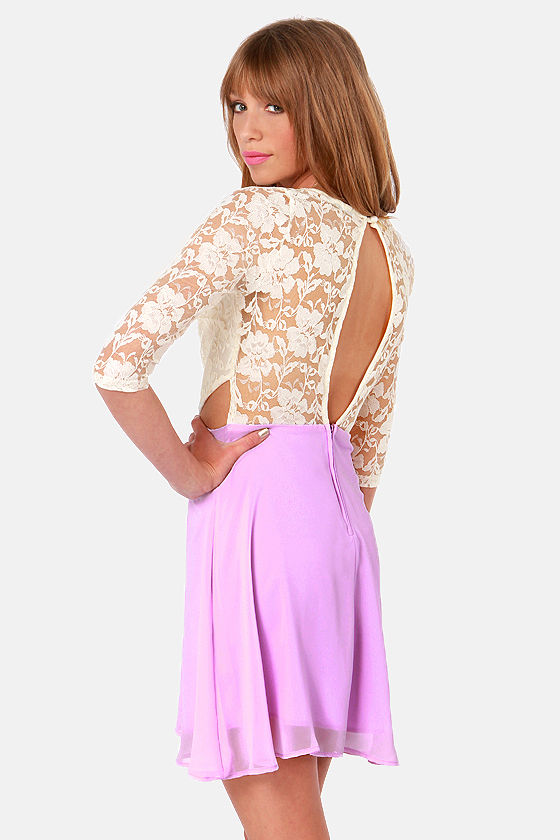 Lovers' Lane Lavender and Ivory Lace Dress at Lulus.com!