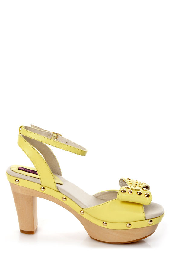 Mojo Moxy Peris Yellow Studded High Heel Sandals at Lulus.com!