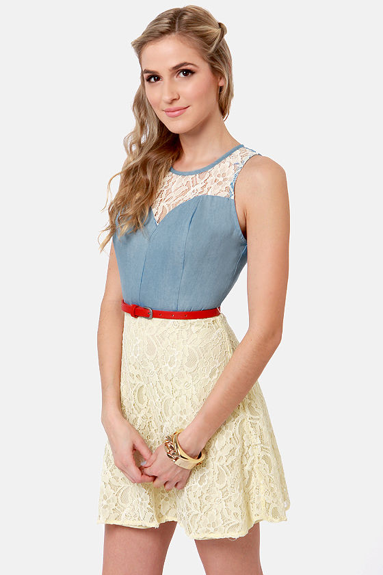 County Fair Maiden Blue and Cream Lace Dress at Lulus.com!