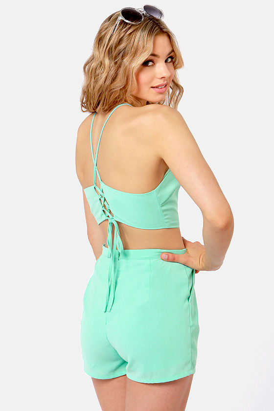 Welcome to Paradise Mint Blue Romper at Lulus.com!