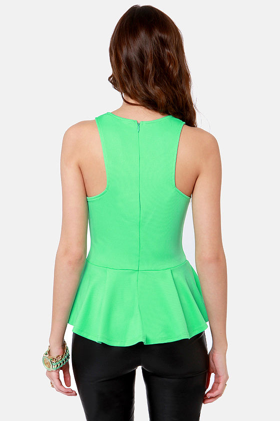Bright Side of Town Mint Green Peplum Top at Lulus.com!