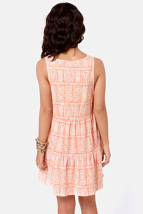 O'Neill Amped Orange Cutout Print Dress at Lulus.com!