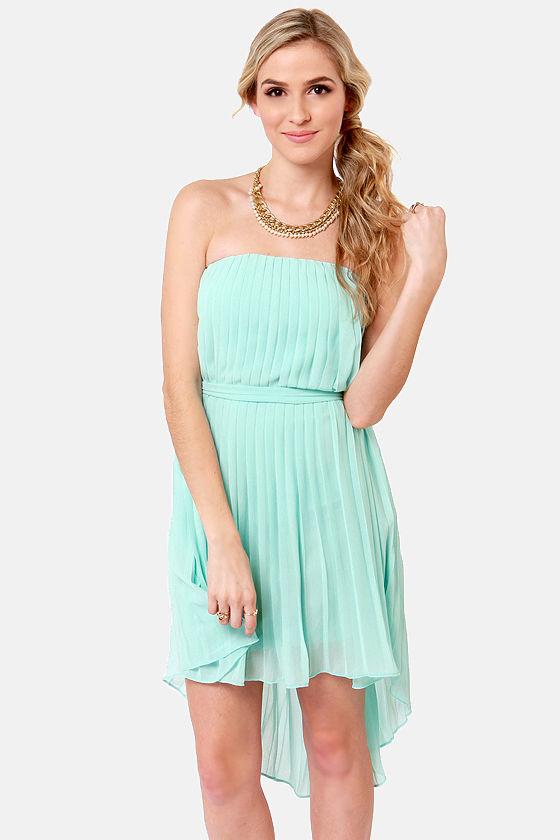 eb3522a4a2d Lovely Light Blue Dress - Strapless Dress - High-Low Dress -  39.00