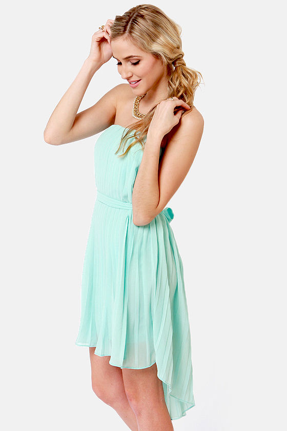 Lovely Light Blue Dress - Strapless Dress - High-Low Dress - $39.00