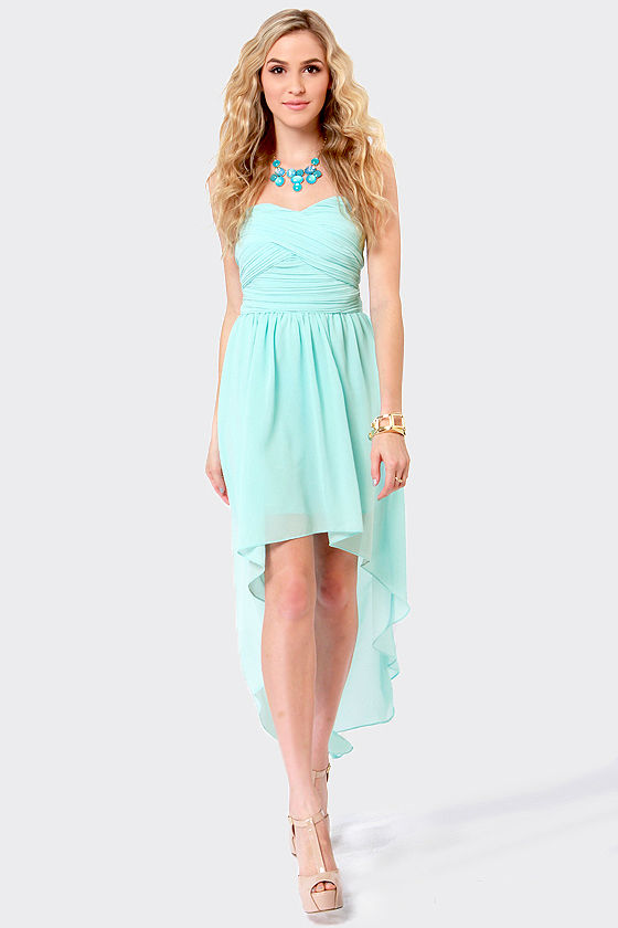 Elegant Light Blue Dress - High-Low Dress - Strapless Dress - $56.00