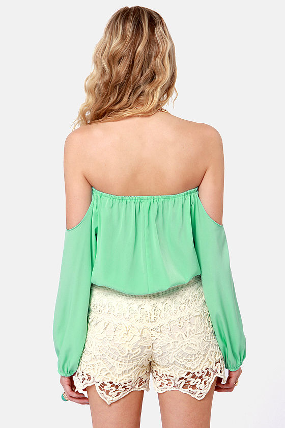 Electric Slide Off-the-Shoulder Mint Top at Lulus.com!