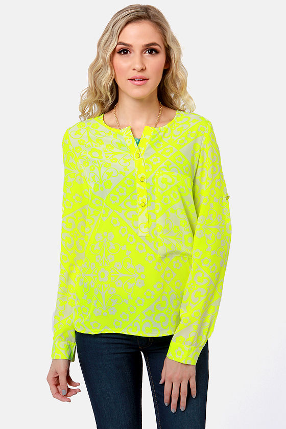 Botanical Brights Neon Yellow Floral Print Top at Lulus.com!