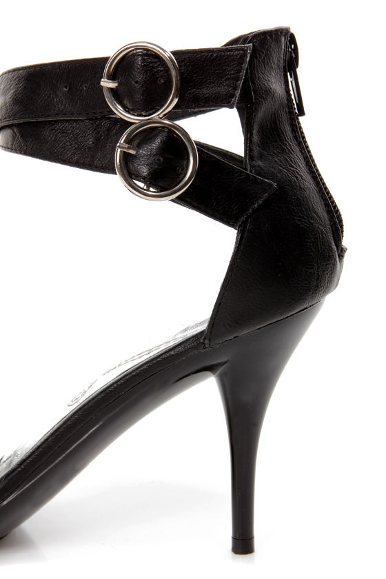 Mona Mia Barbara Black Bow-Topped Ankle Strap Heels at Lulus.com!