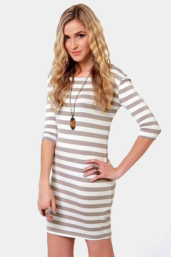 Weekend Getaway Grey and Ivory Striped Dress at Lulus.com!