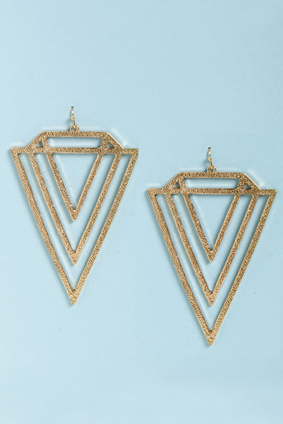 V Totaler Gold Triangle Earrings at Lulus.com!