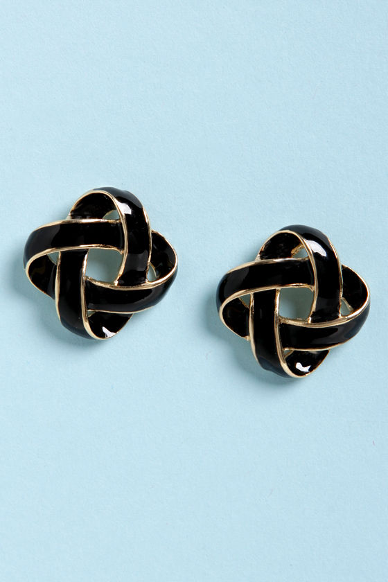 Feeling Loopy Black and Gold Earrings at Lulus.com!