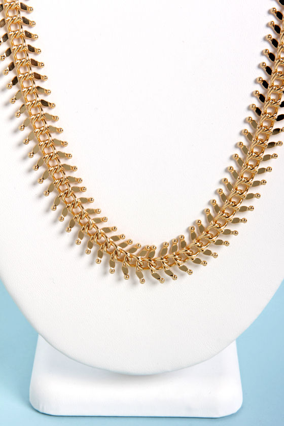 Led Zipperin' Gold Necklace at Lulus.com!
