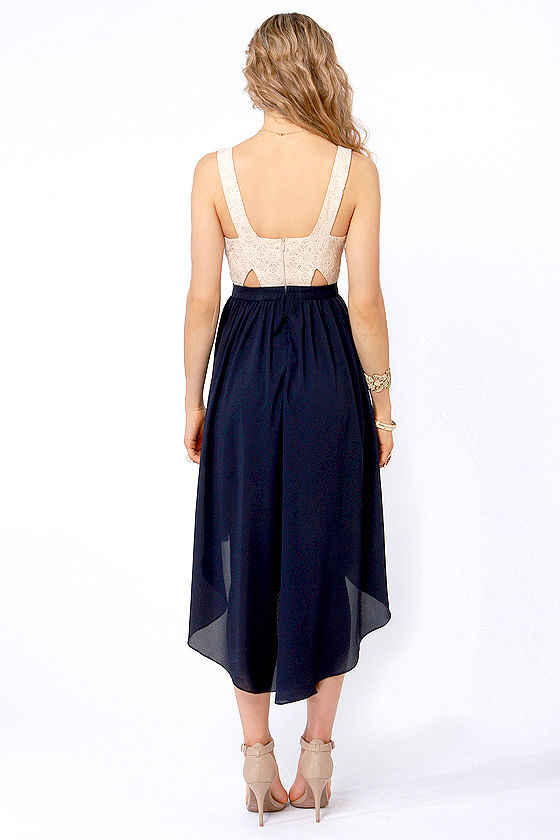 Breeze On By Navy Blue and Cream High-Low Dress at Lulus.com!