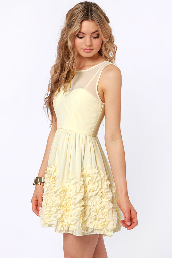 Better Than Buttercream Cream Ruffle Dress at Lulus.com!