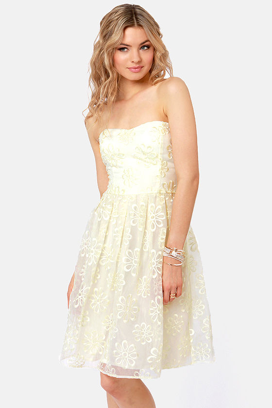 Pretty Cream Dress - Strapless Dress - Embroidered Dress - $46.00
