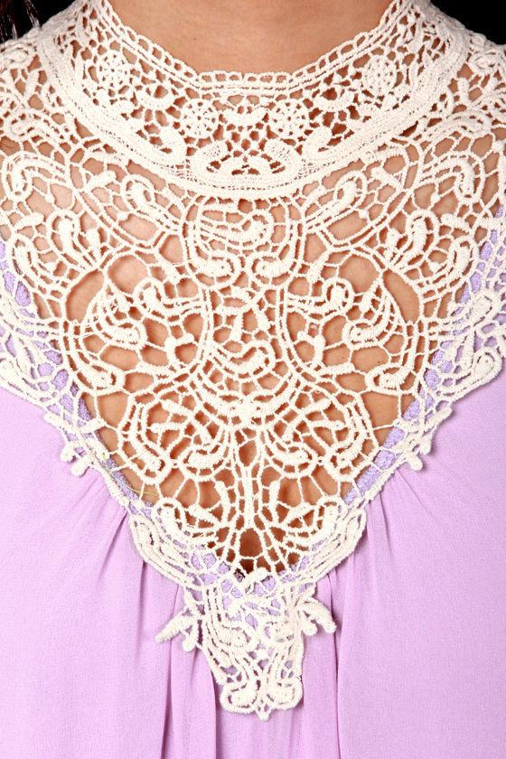 Yore's Truly Cream and Lavender Lace Dress at Lulus.com!