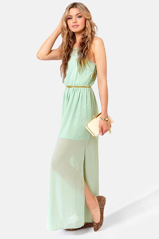 2527791843d Pretty Sage Green Dress - Backless Dress - Lace Dress - Maxi Dress -  48.00