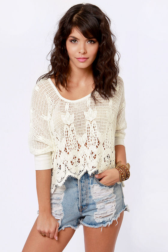 Crochet or the Highway Ivory Crocheted Top at Lulus.com!