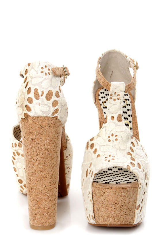 Jessica Simpson Dany 4 Cream Macrame Fabric Lace Platform