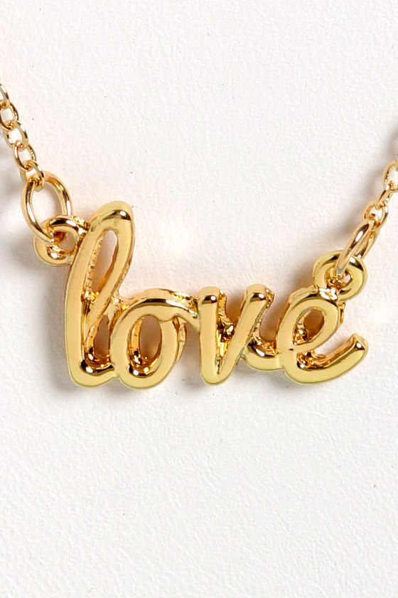 Love is All Around Gold Love Necklace at Lulus.com!