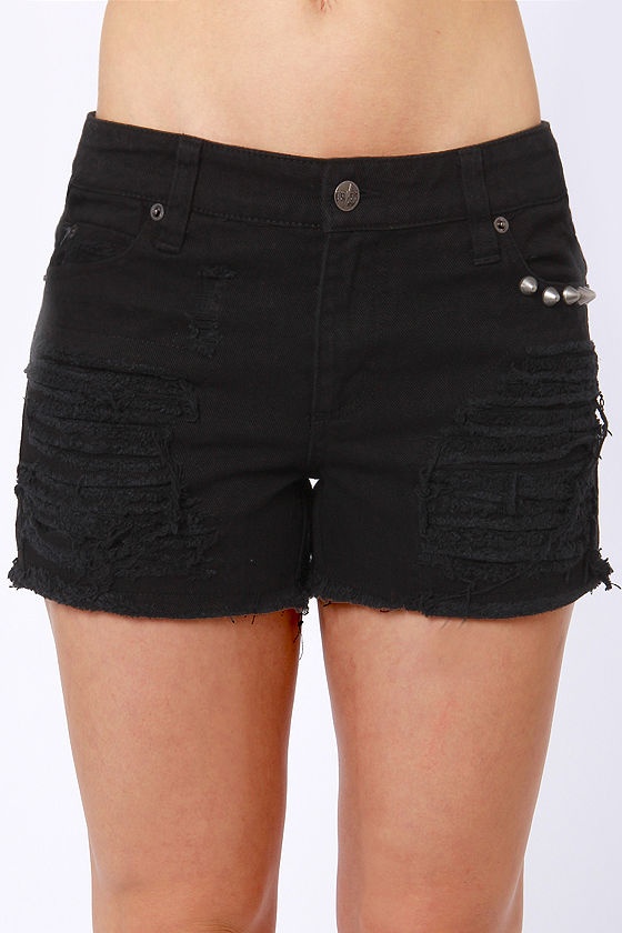 Tripp NYC Apocalyptic Distressed Black Jean Shorts at Lulus.com!