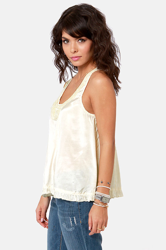 Pearly Gaits Cream Beaded Top at Lulus.com!