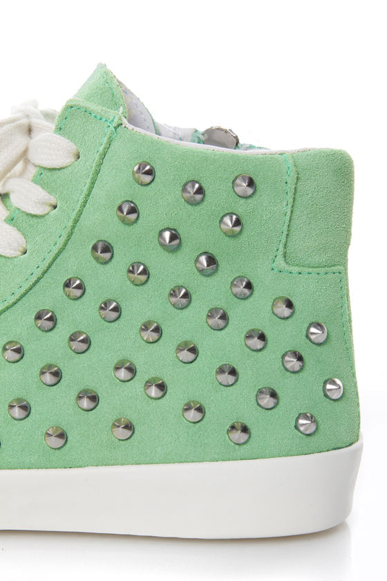 Steve Madden Twynkle Mint Green Suede Lace-Up Studded Sneakers at Lulus.com!