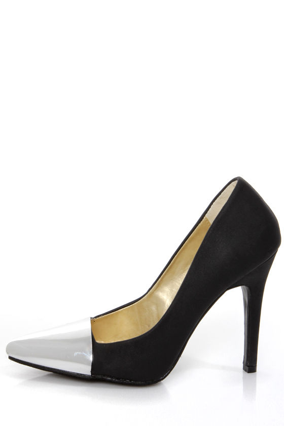 Shoe Republic LA Latin Black and Silver Cap-Toe Pointed Pumps at Lulus.com!