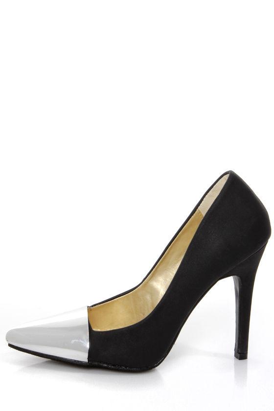 28418d8c4f82 Shoe Republic LA Latin Black and Silver Cap-Toe Pointed Pumps -  37.00