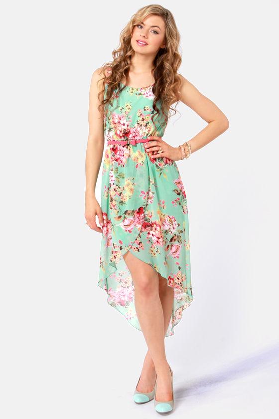 Pretty Floral Print Dress - High-Low Dress