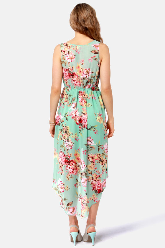 Apple Orchard Floral Print High-Low Dress at Lulus.com!