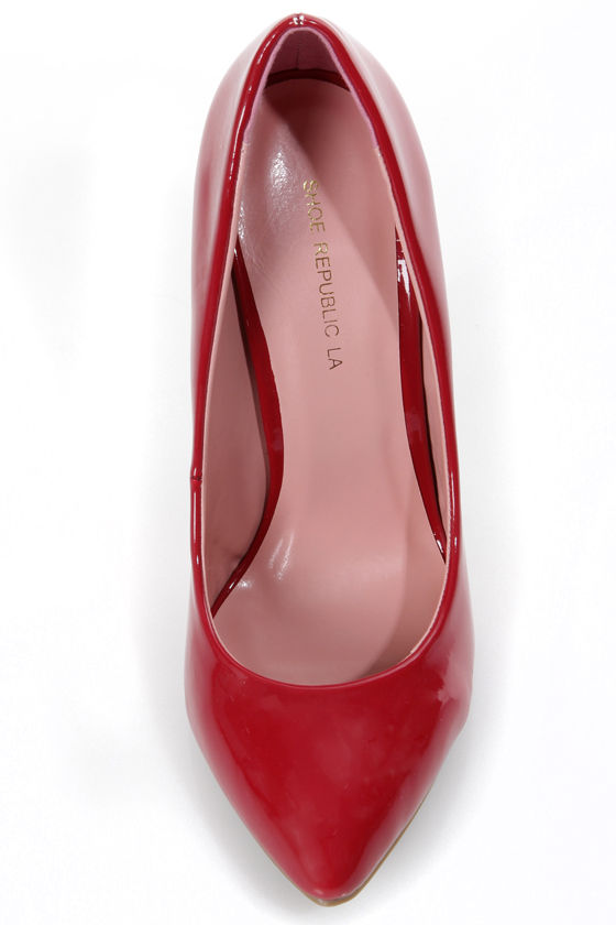 Shoe Republic LA Ethel Red Patent Pointed Pumps at Lulus.com!