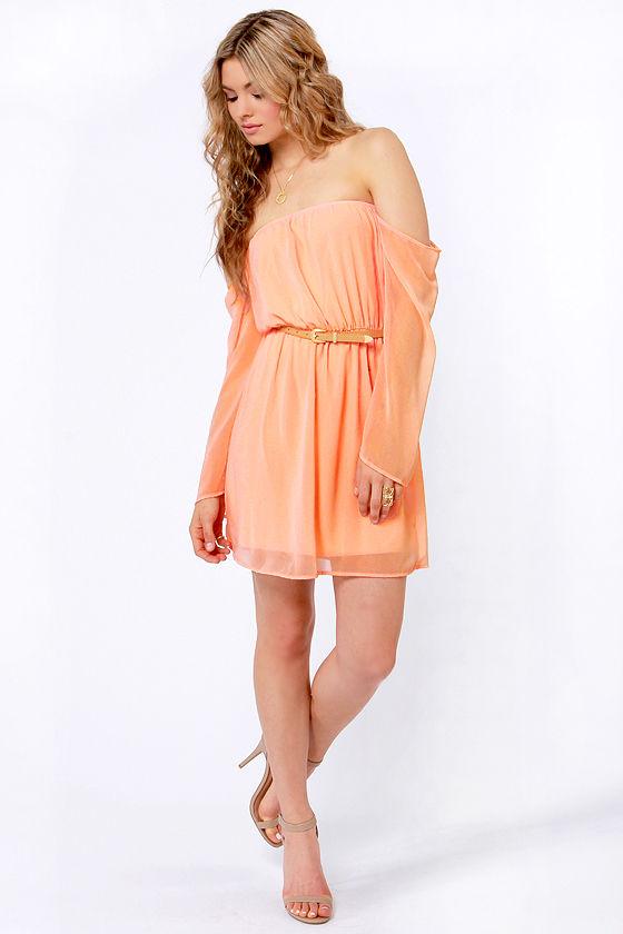 72fac177b683 LULUS Exclusive Maiden Heaven Off-the-Shoulder Peach Dress
