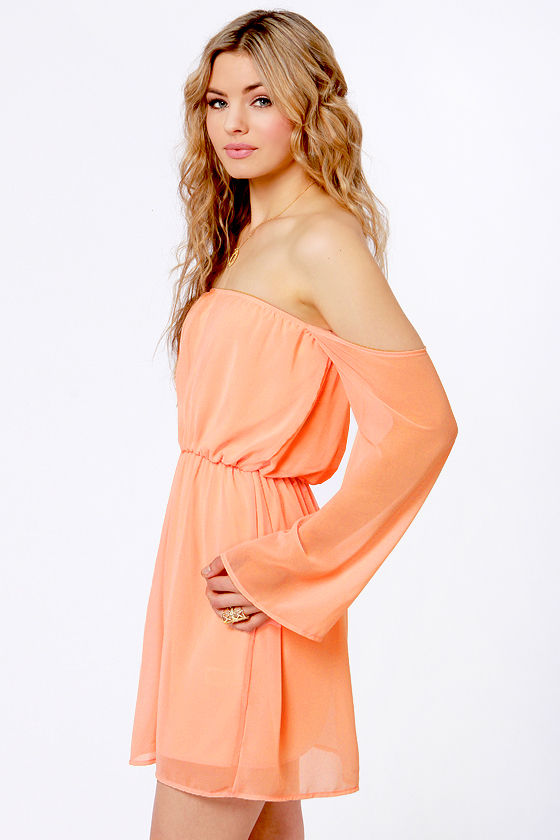 LULUS Exclusive Maiden Heaven Off-the-Shoulder Peach Dress at Lulus.com!