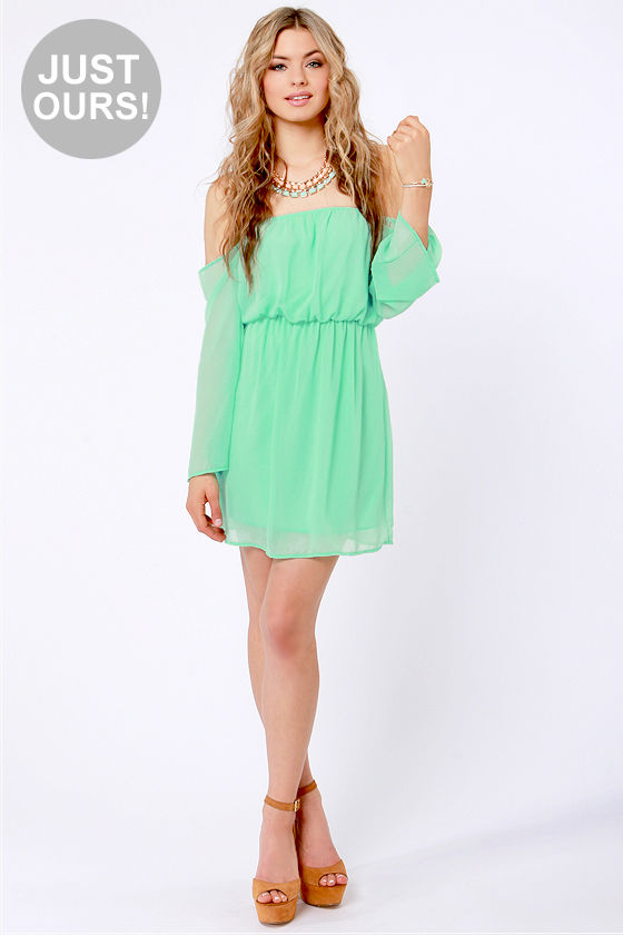 aed982a90cce Cute Off-the-Shoulder Dress - Mint Green Dress -  42.00