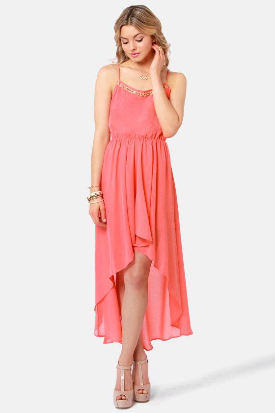 Pretty Coral Dress - High-Low Dress - Beaded Dress - $44.00