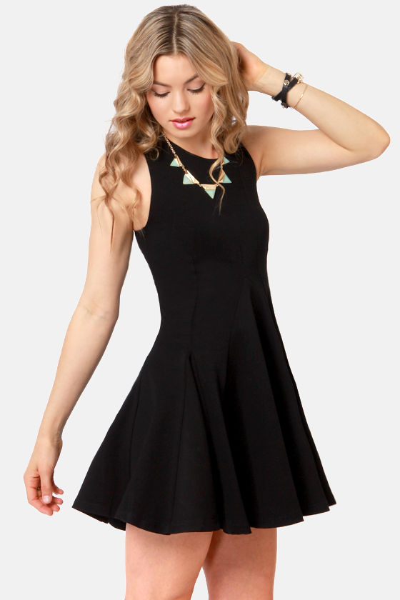 Waiting For Godet Black Dress at Lulus.com!