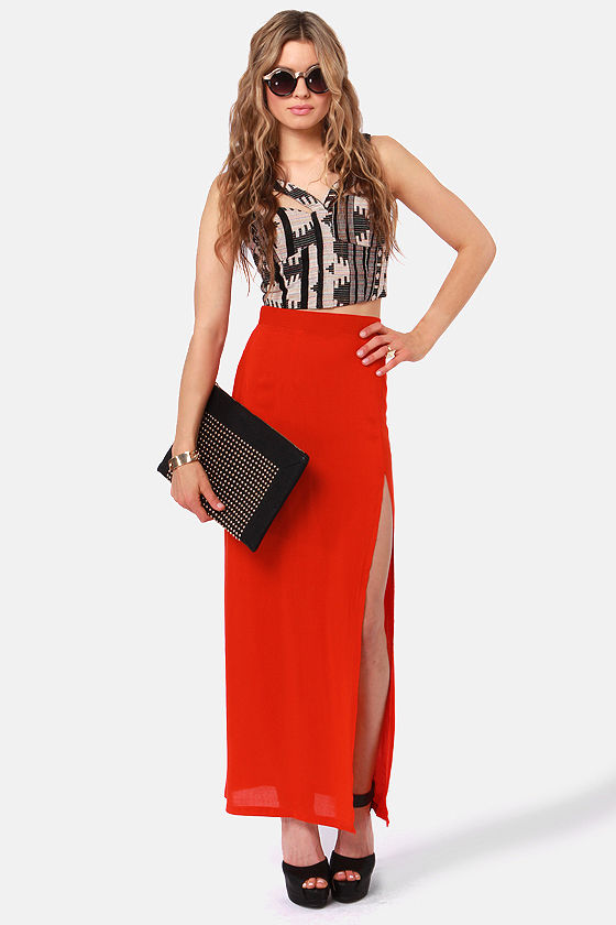 She's Got Legs Red Maxi Skirt at Lulus.com!