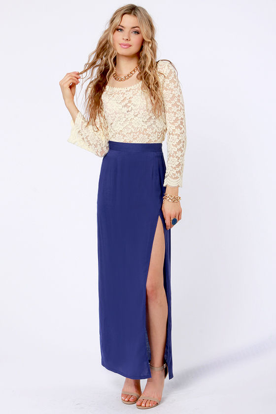 Sexy Royal Blue Skirt Maxi Skirt Slit Skirt 33 00