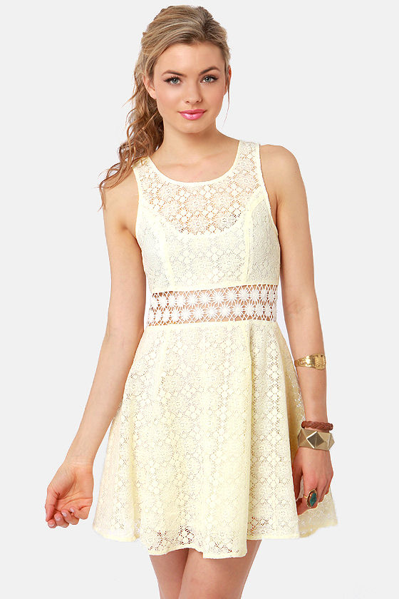 Afternoon in the Park Cream Lace Dress at Lulus.com!