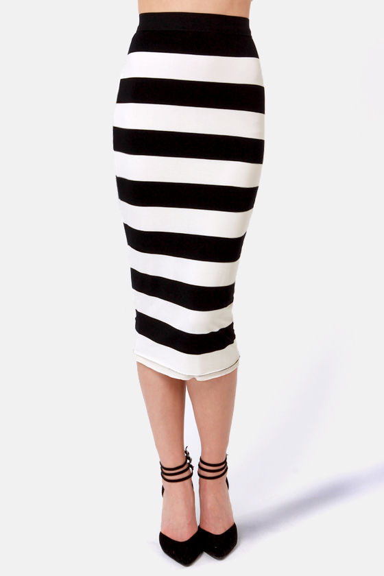 Vertigo With the Flow Black and Ivory Striped Skirt at Lulus.com!