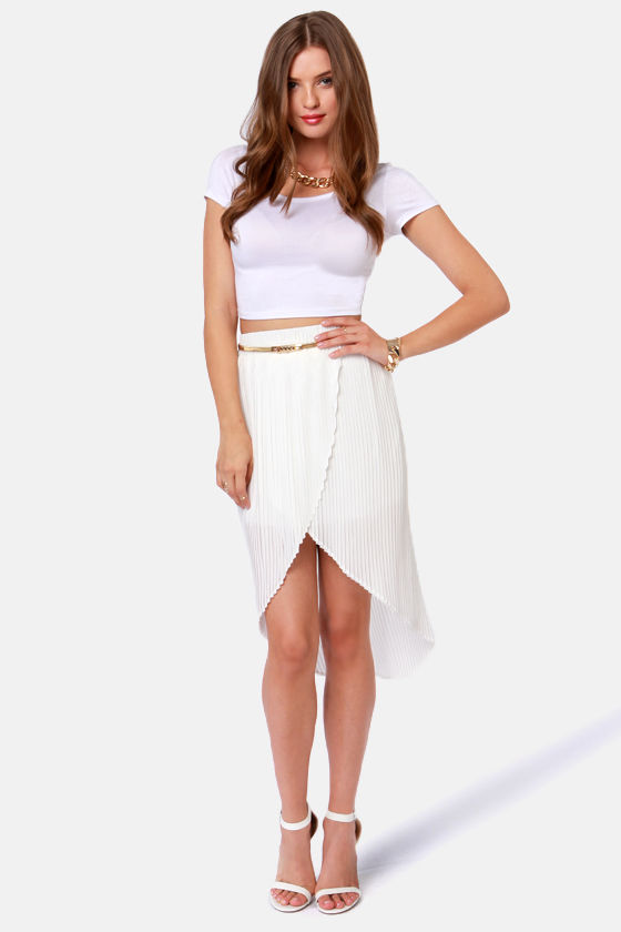 08cc526099 Cute Pleated Skirt - White Skirt - Tulip Skirt - $38.00